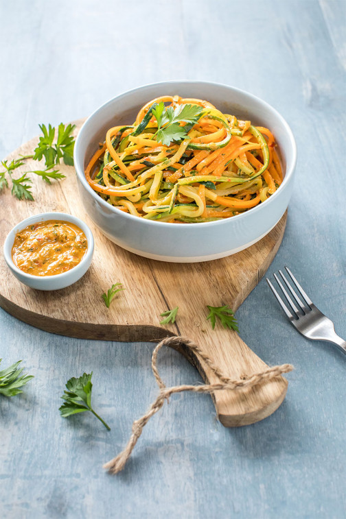 Carrot and courgette spaghetti